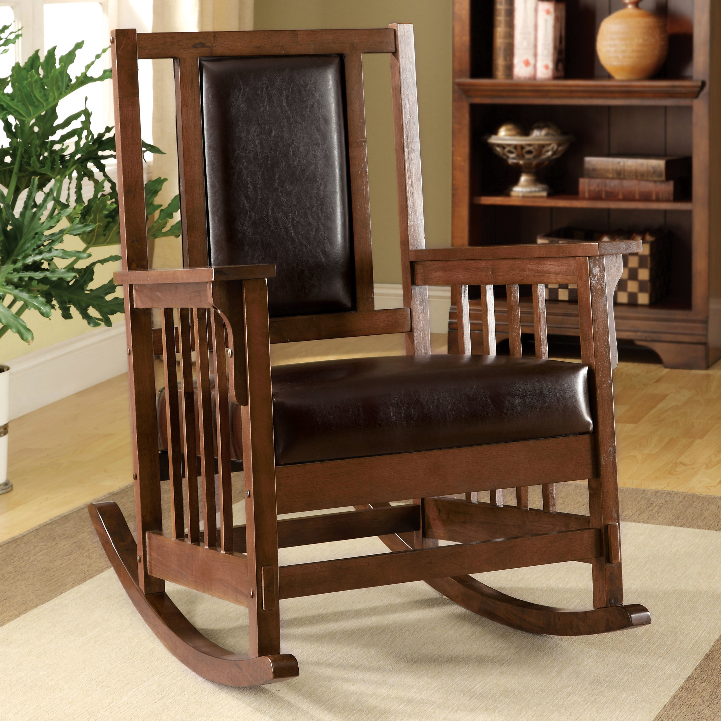 Valley Leatherette Arm Rocking Chair With Faux Leather Upholstered Wooden Rocking Chairs With Looped Arms, Brown (#17 of 20)