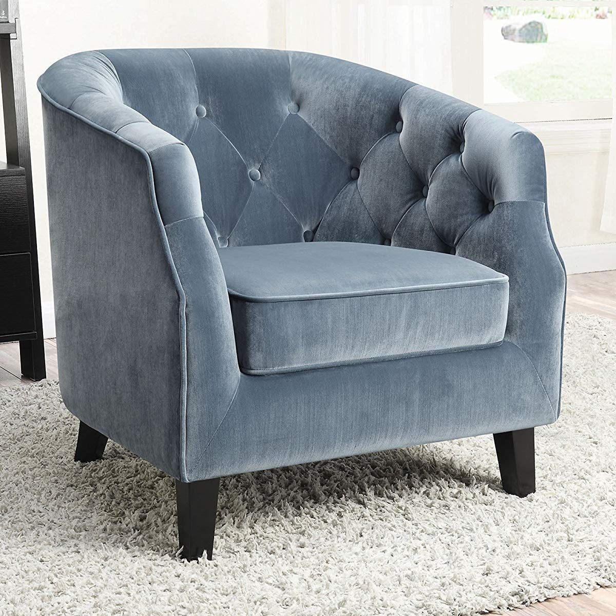 Inspiration about Velvet Upholstered Tufted Accent Chair, Blue | Accent Chair With Regard To Velvet Tufted Accent Chairs (#12 of 20)