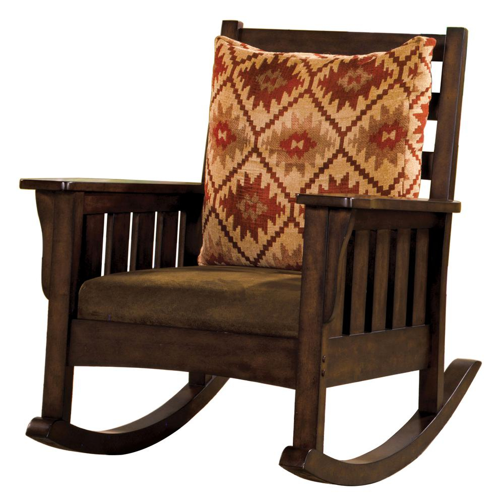 Inspiration about Venetian Worldwide Morrisville Dark Oak Wood Rocking Arm Within Beige Fabric And Cherry Wood Rocking Chairs (#6 of 20)