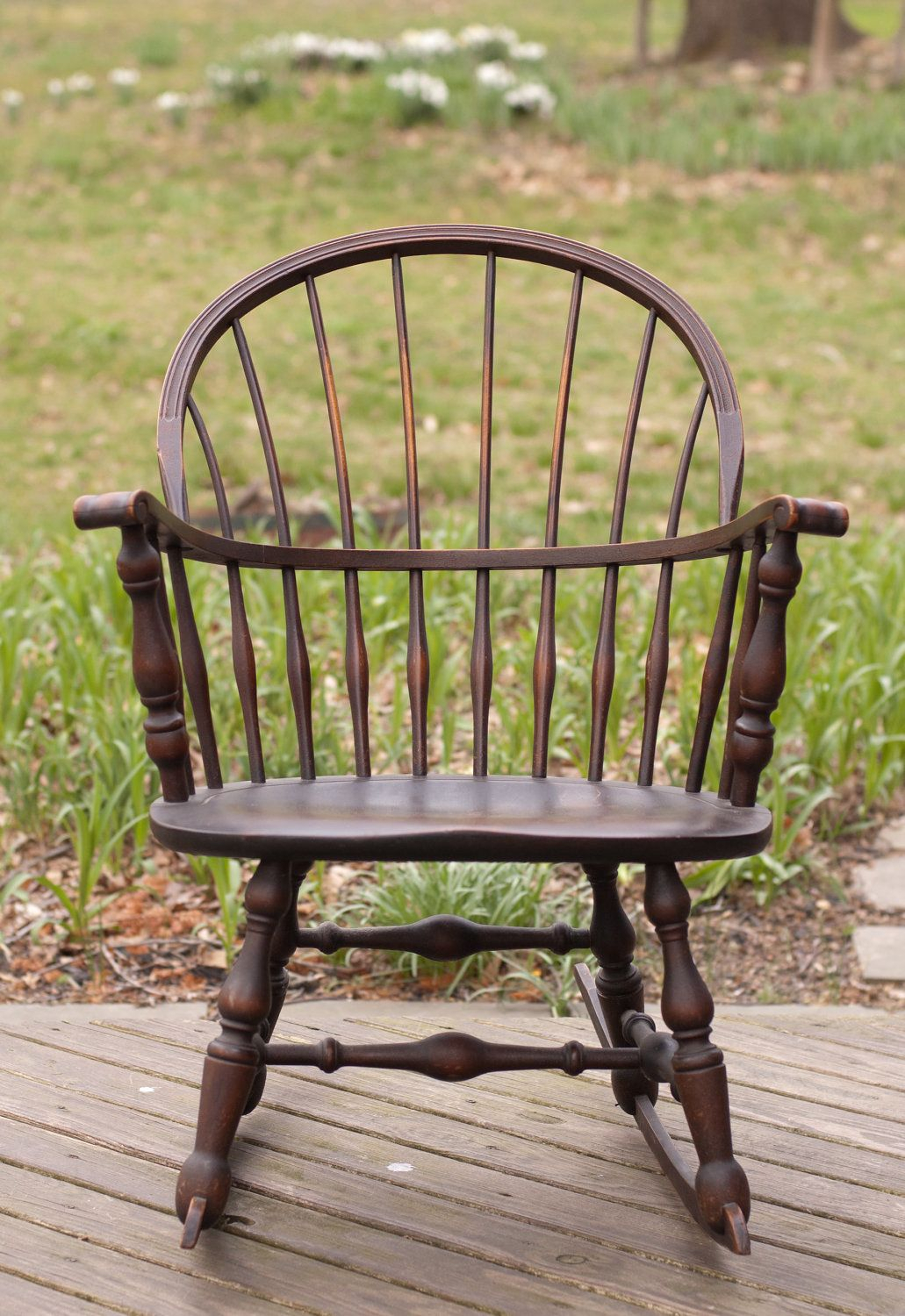 Inspiration about Vintage 1930 Nichols & Stone Windsor Rocking Rocker Chair Intended For Black Back Windsor Rocking Chairs (#4 of 20)