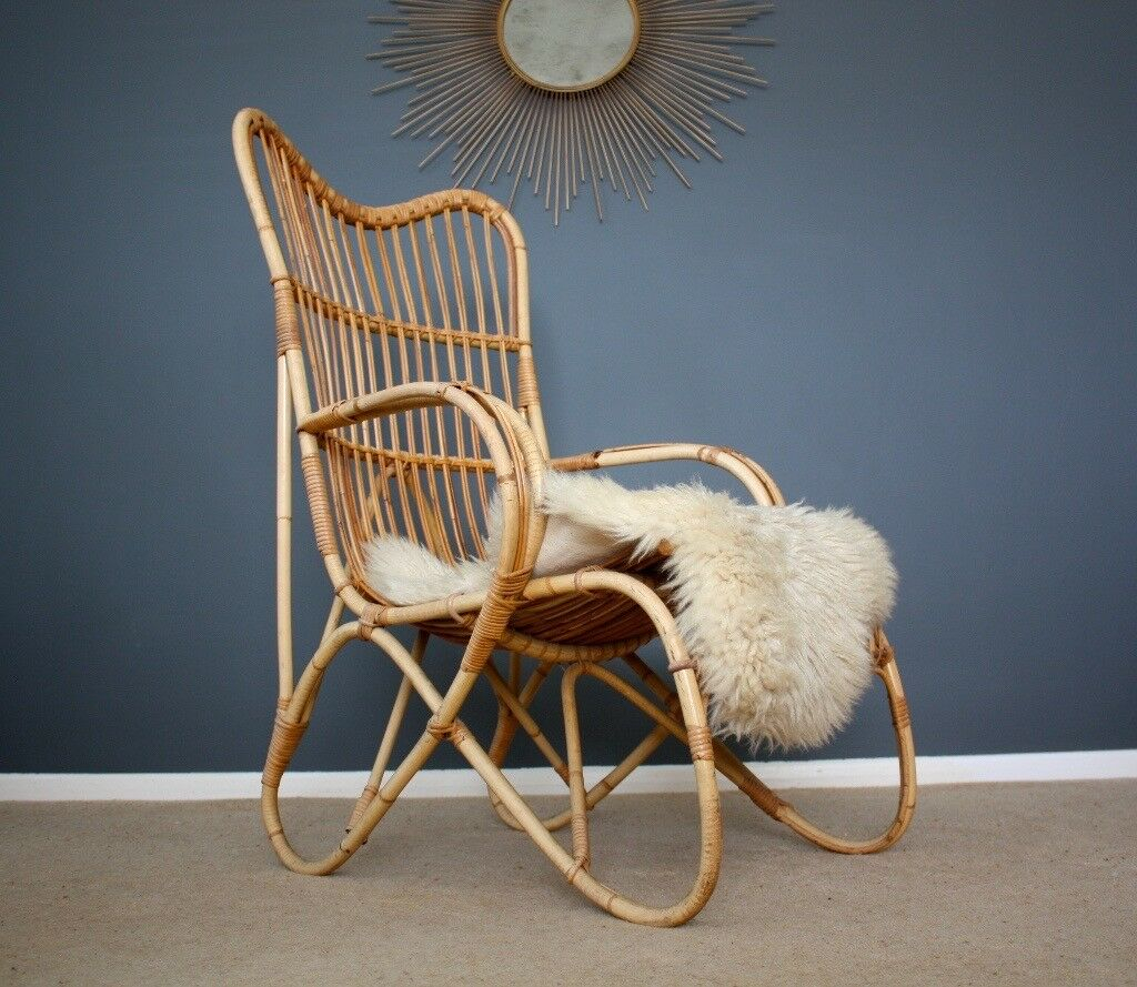 Inspiration about Vintage Bamboo Lounge Chair Boho Retro Mid Century 60S | In Dover, Kent |  Gumtree In Dover Bentwood Rocking Chairs (#2 of 20)