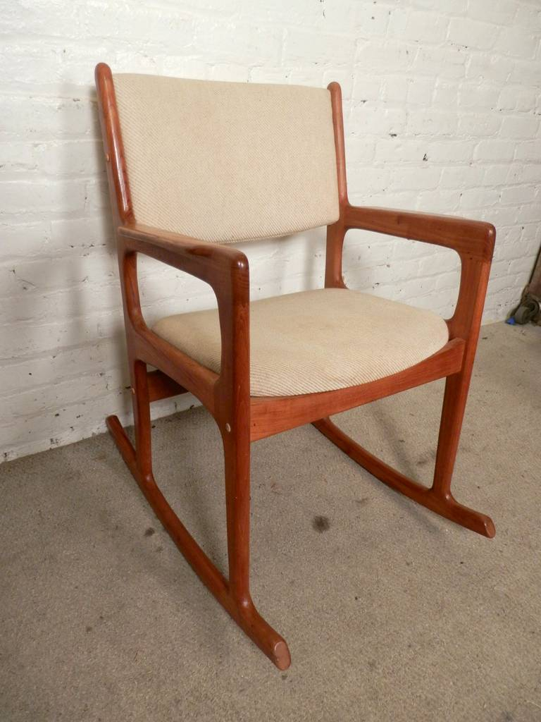 Vintage Mid Century Modern Rocking Chairbenny Linden Pertaining To Mid Century Fabric Rocking Chairs (View 9 of 20)