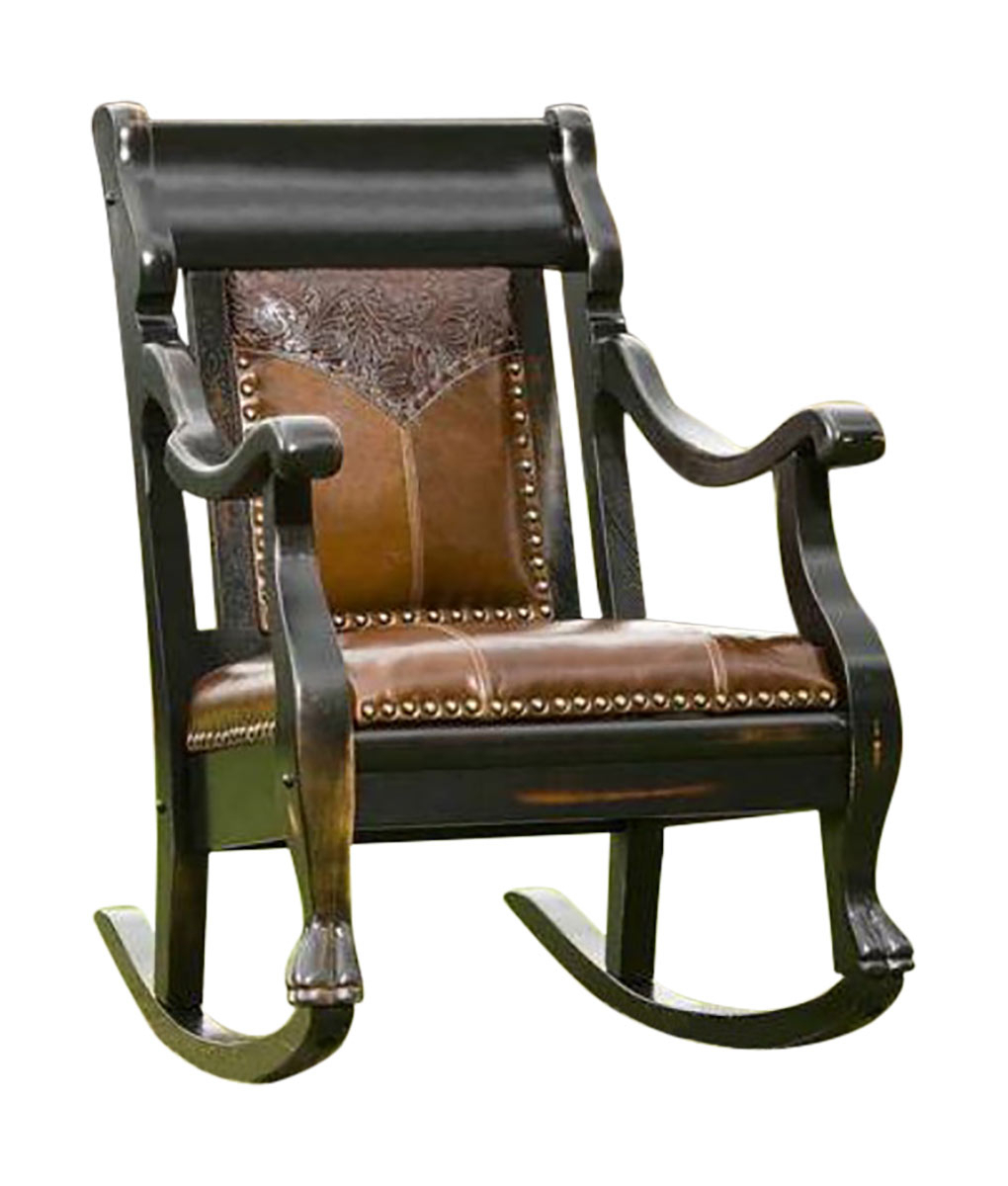 Vintage Rocker With Embossed Yoke Regarding Elegant Tobacco Brown Wooden Rocking Chairs (#19 of 20)