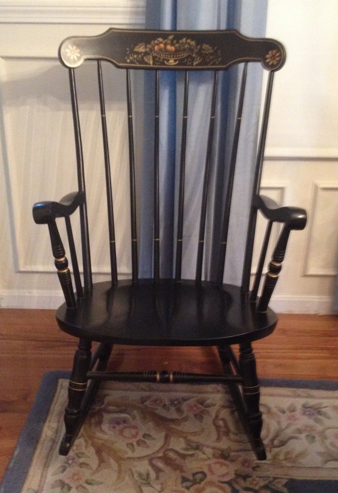 Inspiration about Vintage S.bent & Bros Colonial Rocker Rocking Adult Chair Throughout Colonial Antique Black Rocking Chairs (#10 of 20)