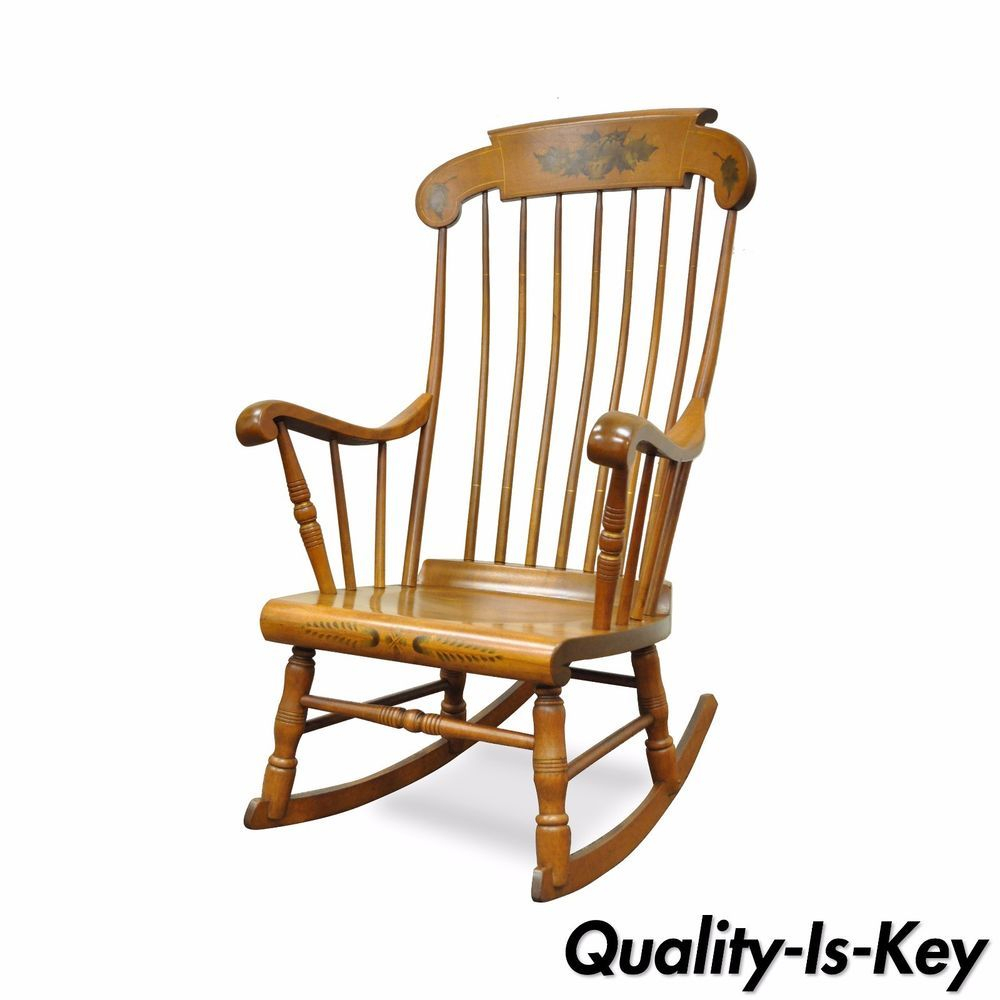 Vintage S Bent Bros Colonial Windsor Solid Maple Harvest Regarding Colonial Antique Black Rocking Chairs (#19 of 20)
