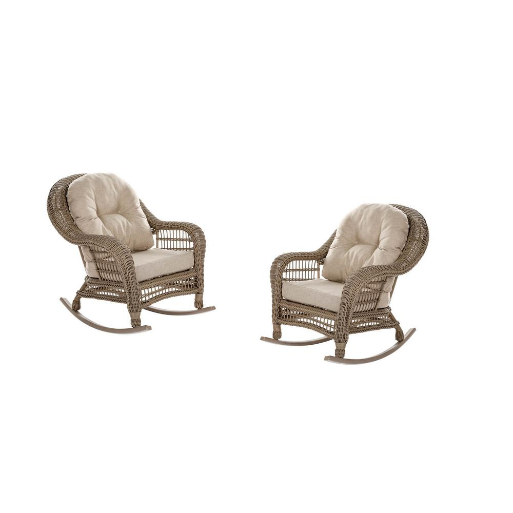 Inspiration about W Unlimited Saturn Wicker Outdoor Rocking Chair With Beige Cushion (2 Pack) Regarding Cappuccino Curved Rocking Chairs (#12 of 20)