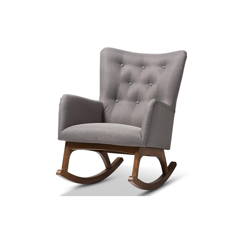 Inspiration about Waldmann Mid Century Modern Grey Fabric Upholstered Rocking Chair With Regard To Mid Century Modern Fabric Rocking Chairs (#15 of 20)