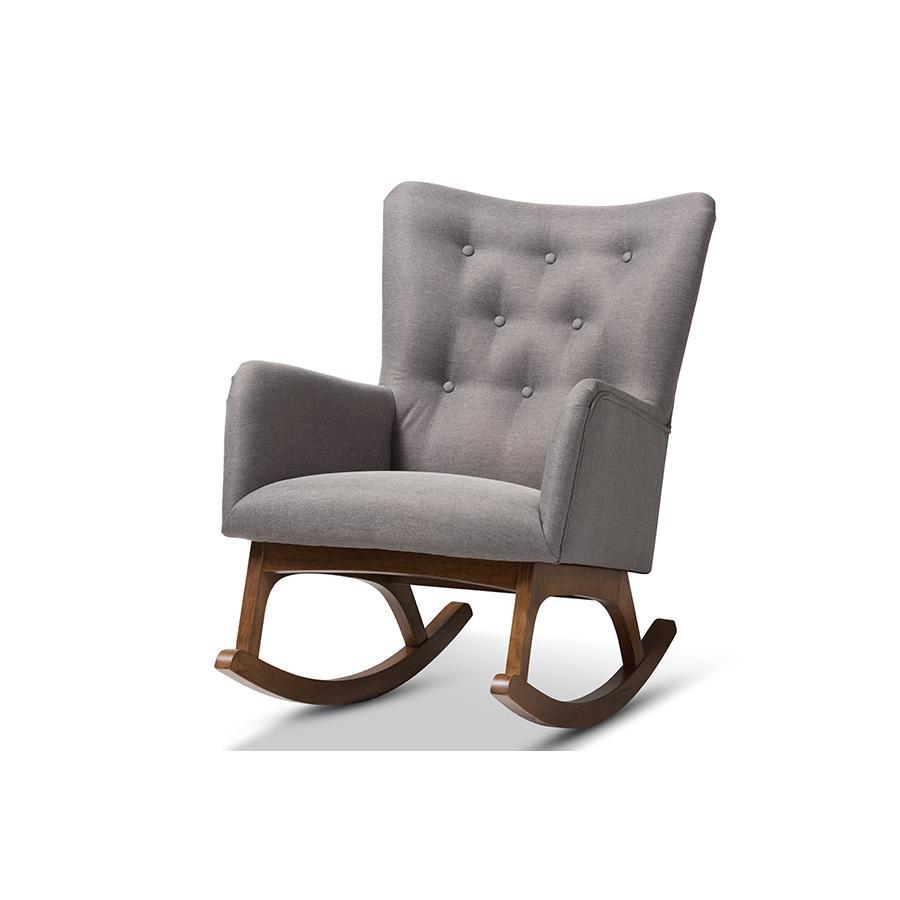 Waldmann Mid Century Modern Grey Fabric Upholstered Rocking Chair With Regard To Mid Century Modern Fabric Rocking Chairs (View 15 of 20)