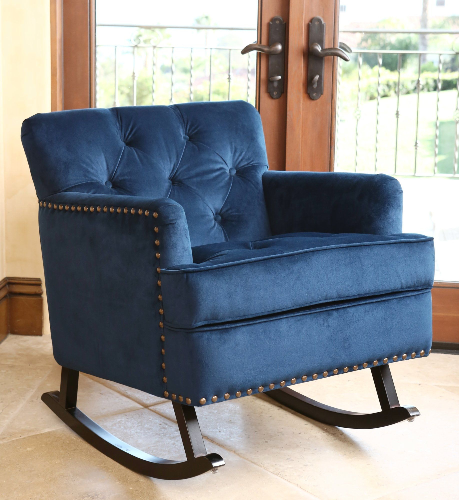 Inspiration about Whitney Velvet Rocking Chair | Hey Mama | Nailhead Trim Throughout Velvet Rocking Chairs (#11 of 20)