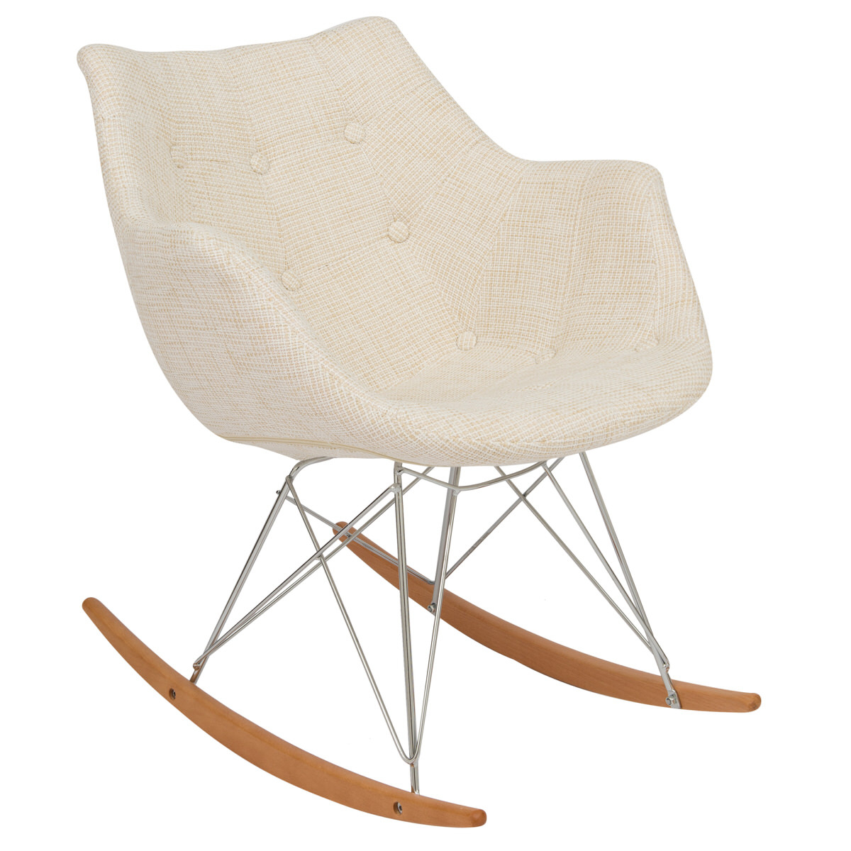 Inspiration about Willow Twill Fabric Eiffel Beige Rocking Chairleisuremod For Twill Fabric Multi Rocking Chairs With Eiffel Legs (#3 of 20)