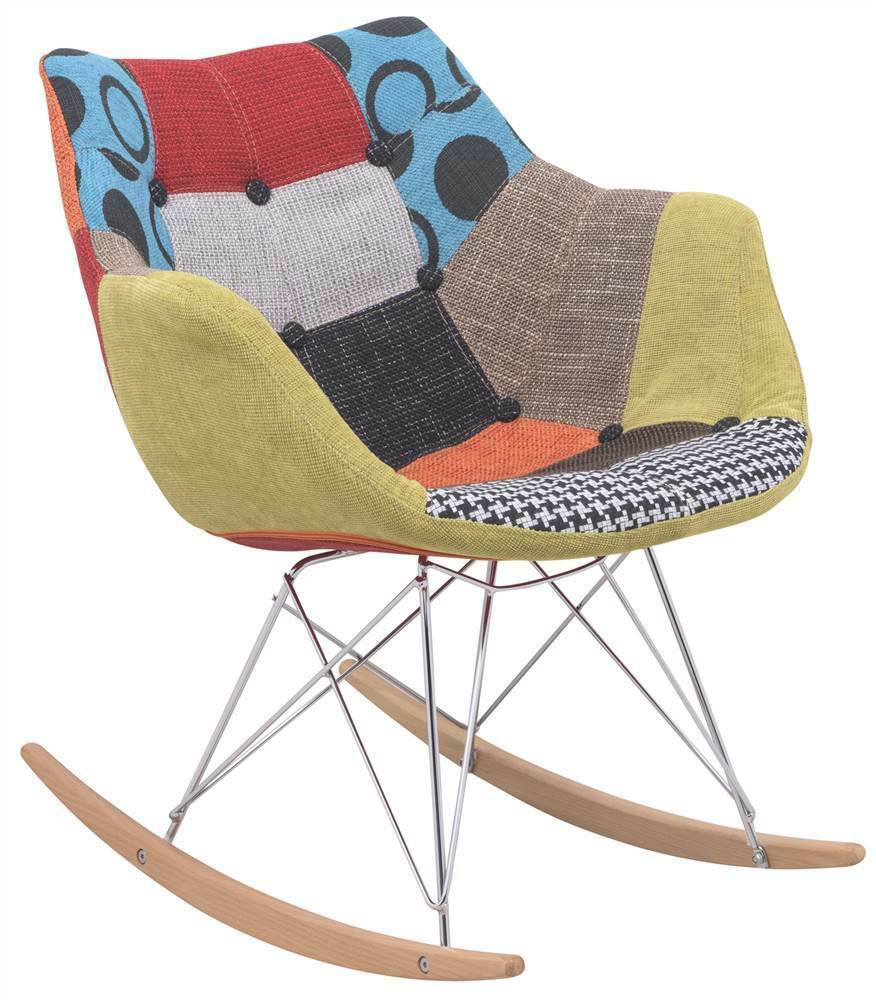 Inspiration about Willow Twill Fabric Eiffel Rocking Chair In Multicolor [Id 3886738] Throughout Twill Fabric Beige Rocking Chairs With Eiffel Legs (#9 of 20)