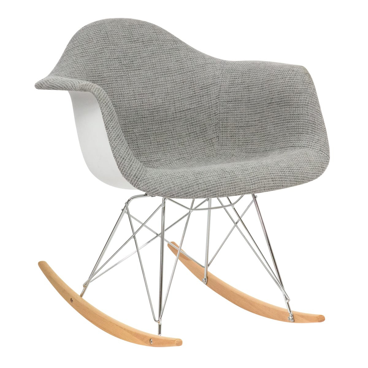 Wilson Twill Fabric Eiffel Gray Rocking Chairleisuremod Throughout Rocking Chairs In Linen Fabric With Medium Espresso Base (View 11 of 20)
