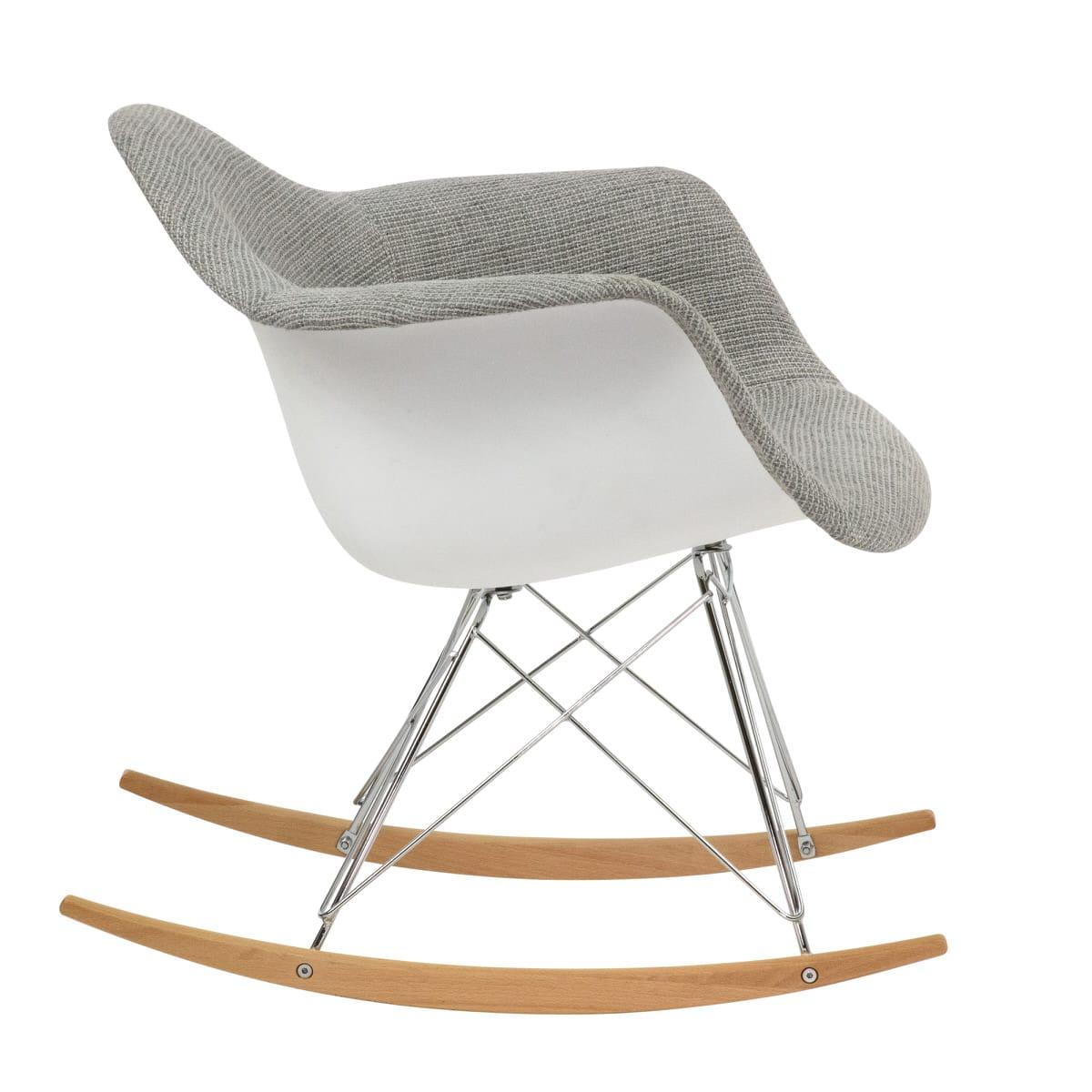 Inspiration about Wilson Twill Fabric Eiffel Gray Rocking Chairleisuremod Throughout Twill Fabric Beige Rocking Chairs With Eiffel Legs (#11 of 20)