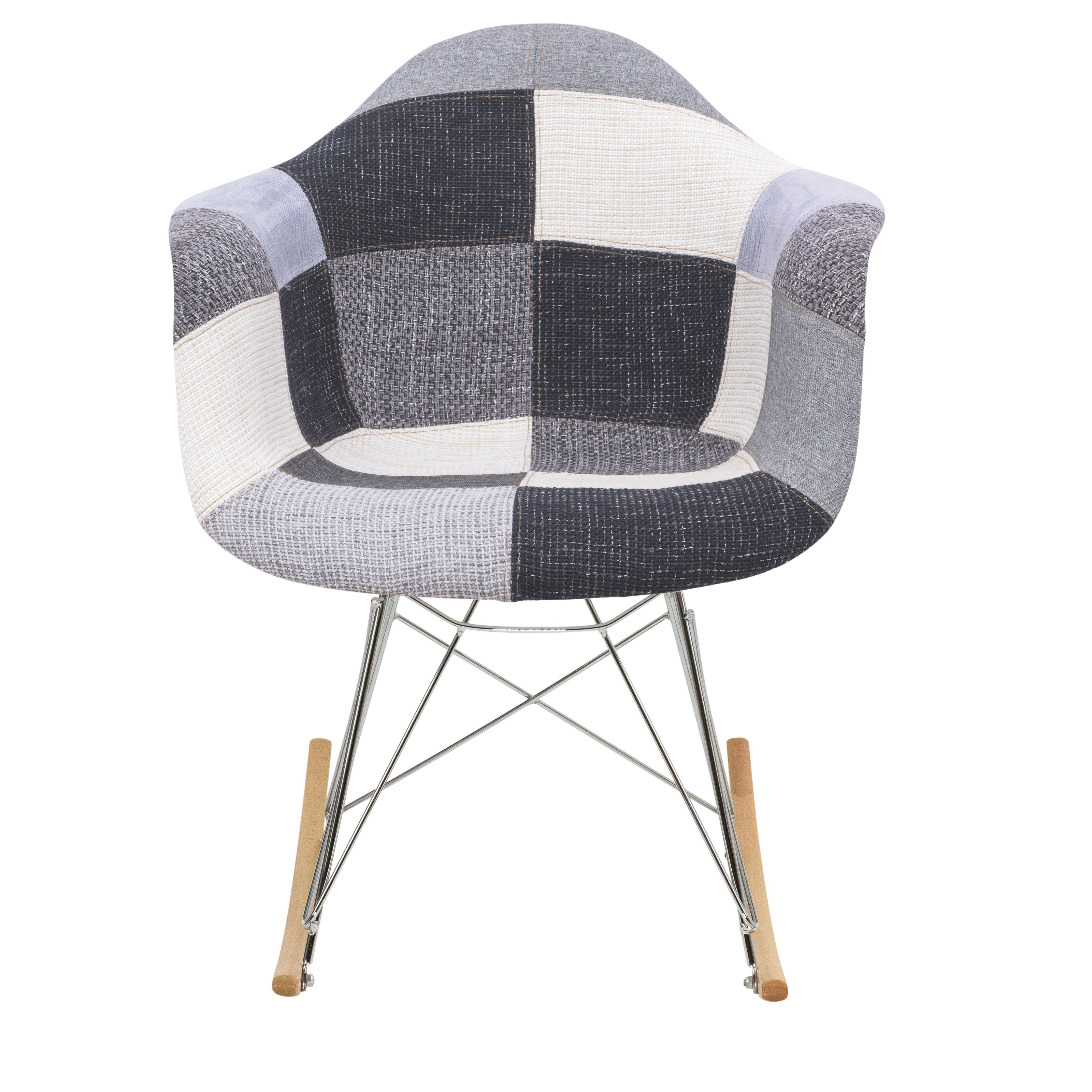 Inspiration about Wilson Twill Patchwork Fabric Eiffel Rocking Chair – Rocking For Twill Fabric Multi Rocking Chairs With Eiffel Legs (#17 of 20)