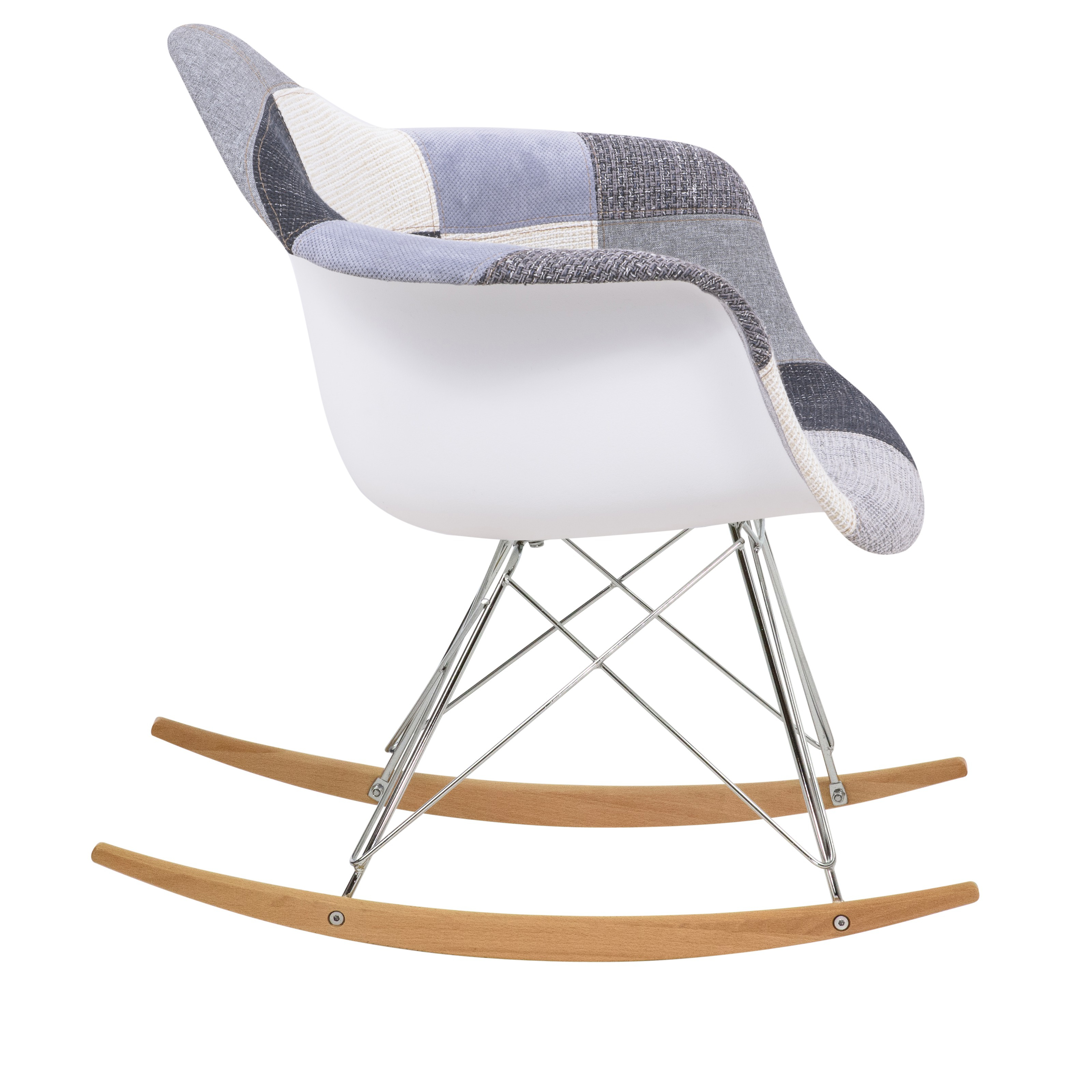 Inspiration about Wilson Twill Patchwork Fabric Eiffel Rocking Chair – Rocking In Twill Fabric Beige Rocking Chairs With Eiffel Legs (#12 of 20)