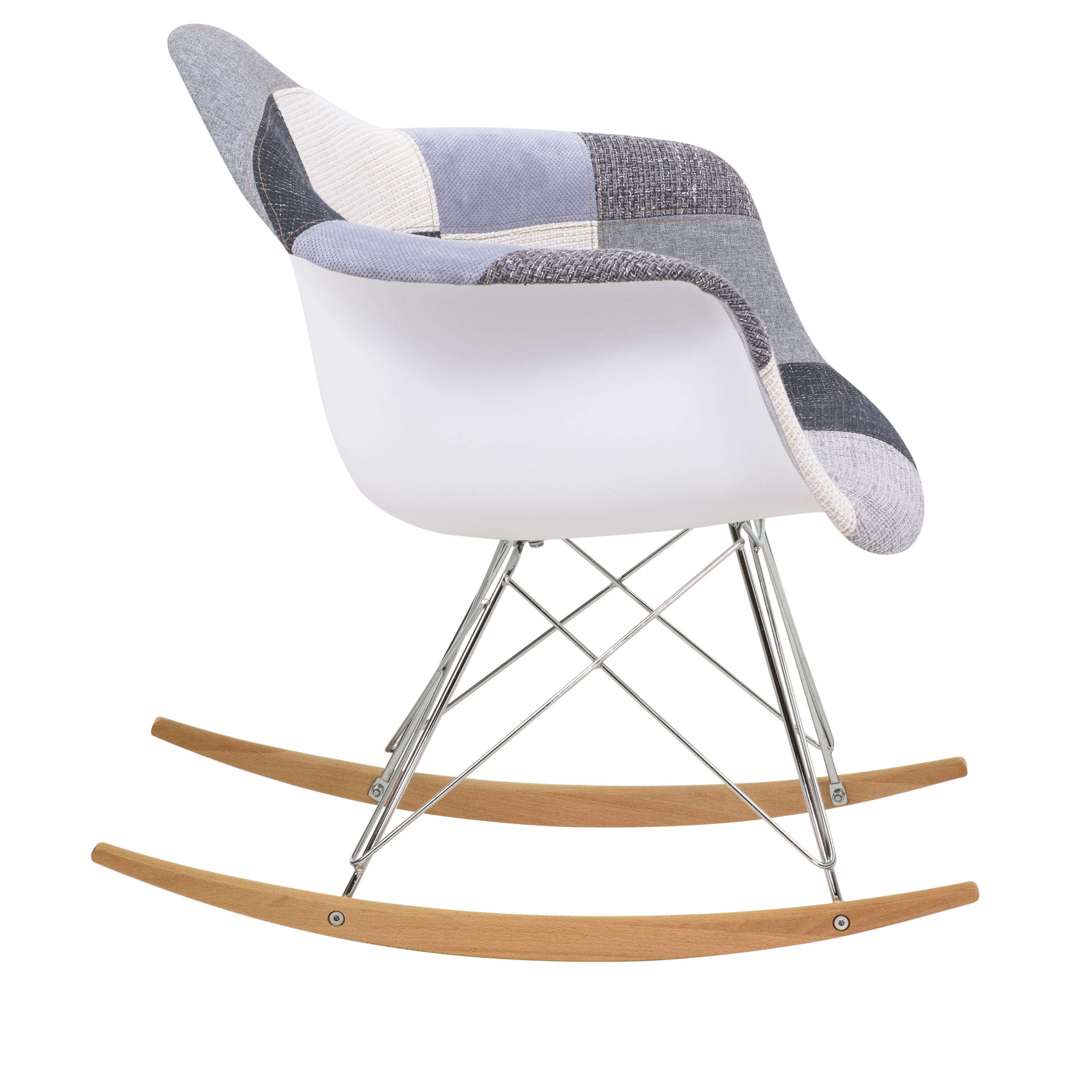 Wilson Twill Patchwork Fabric Eiffel Rocking Chair – Rocking In Twill Fabric Beige Rocking Chairs With Eiffel Legs (#20 of 20)