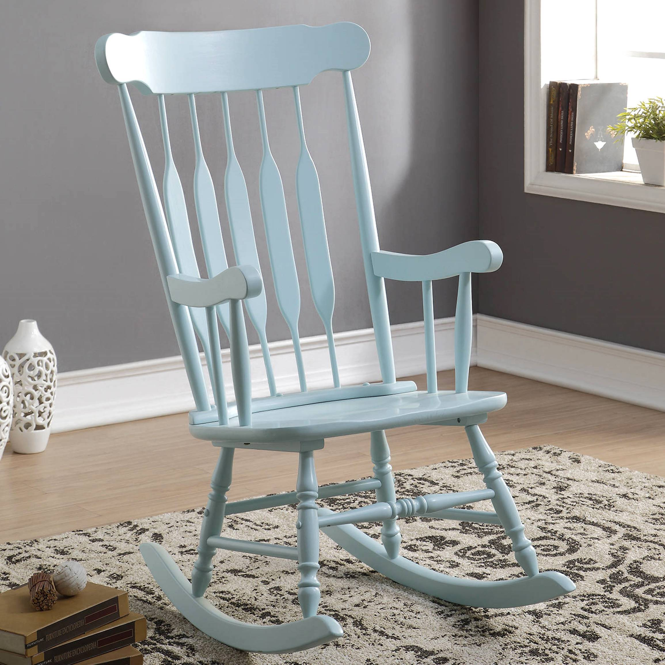 Inspiration about Windsor Arrow Back Country Style Light Blue Rocking Chair Throughout Windsor Arrow Back Country Style Rocking Chairs (#2 of 20)
