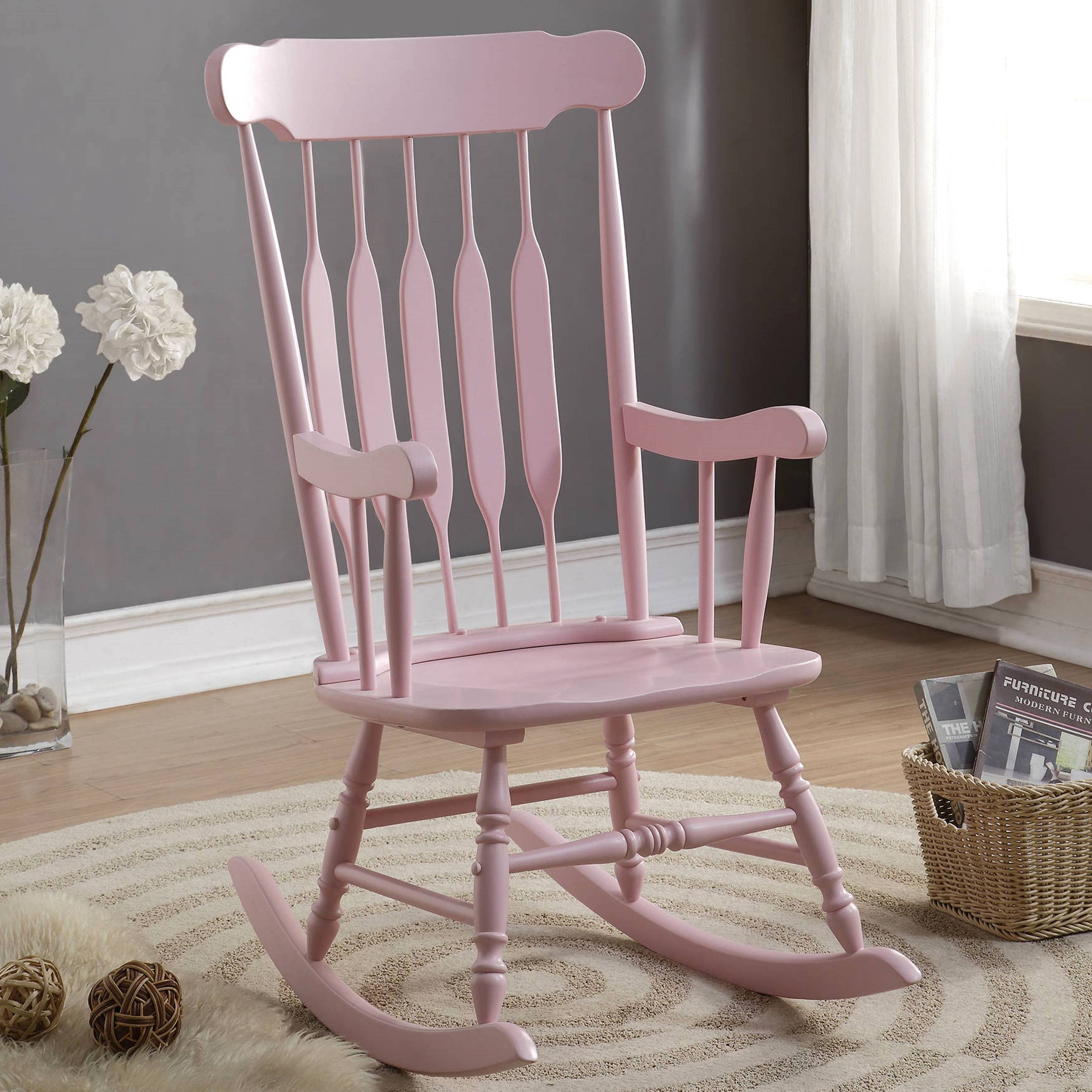 Inspiration about Windsor Arrow Back Country Style Pink Rocking Chair Inside Windsor Arrow Back Country Style Rocking Chairs (#1 of 20)