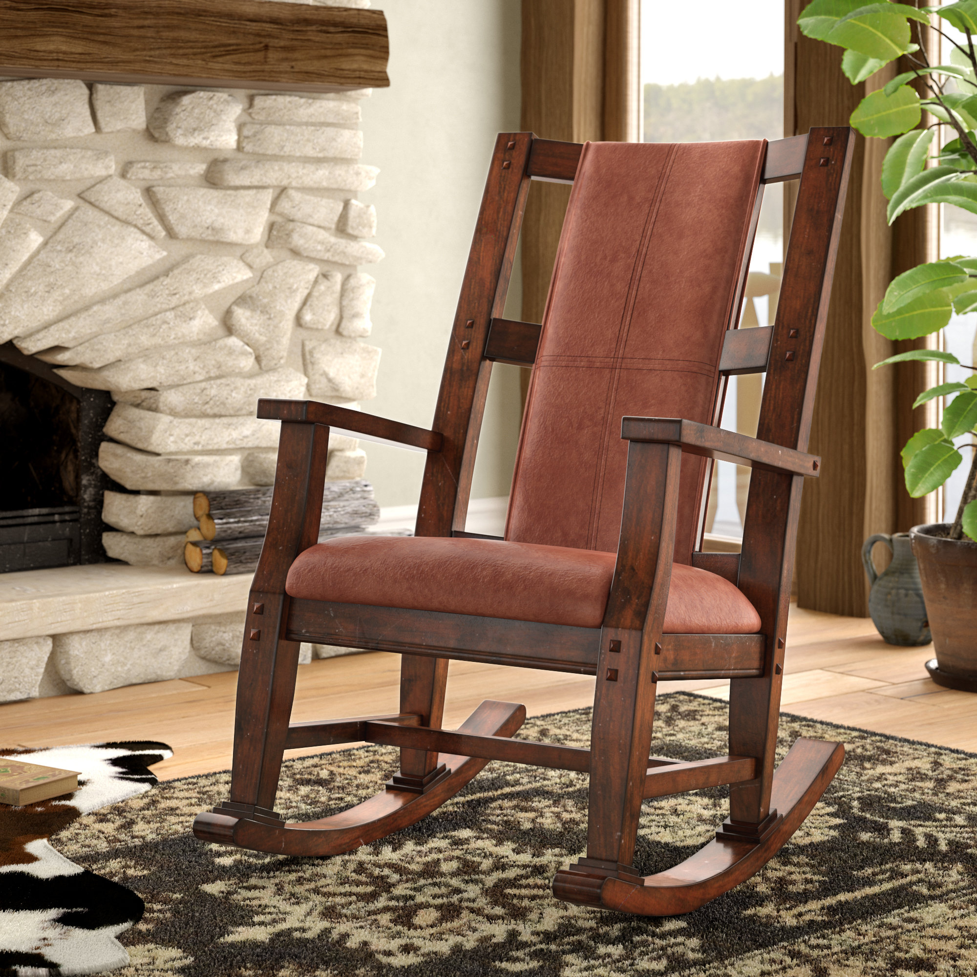 Wood Rocking Chairs You'll Love In 2019 | Wayfair In Dark Oak Wooden Padded Faux Leather Rocking Chairs (#20 of 20)