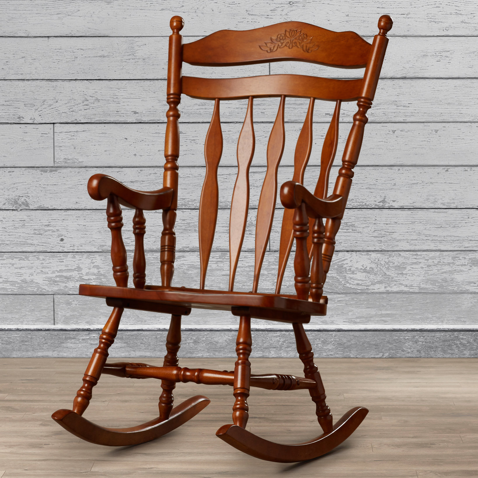 Wood Rocking Chairs You'll Love In 2019 | Wayfair With Wooden Rocking Chairs With Fabric Upholstered Cushions, White (View 20 of 20)
