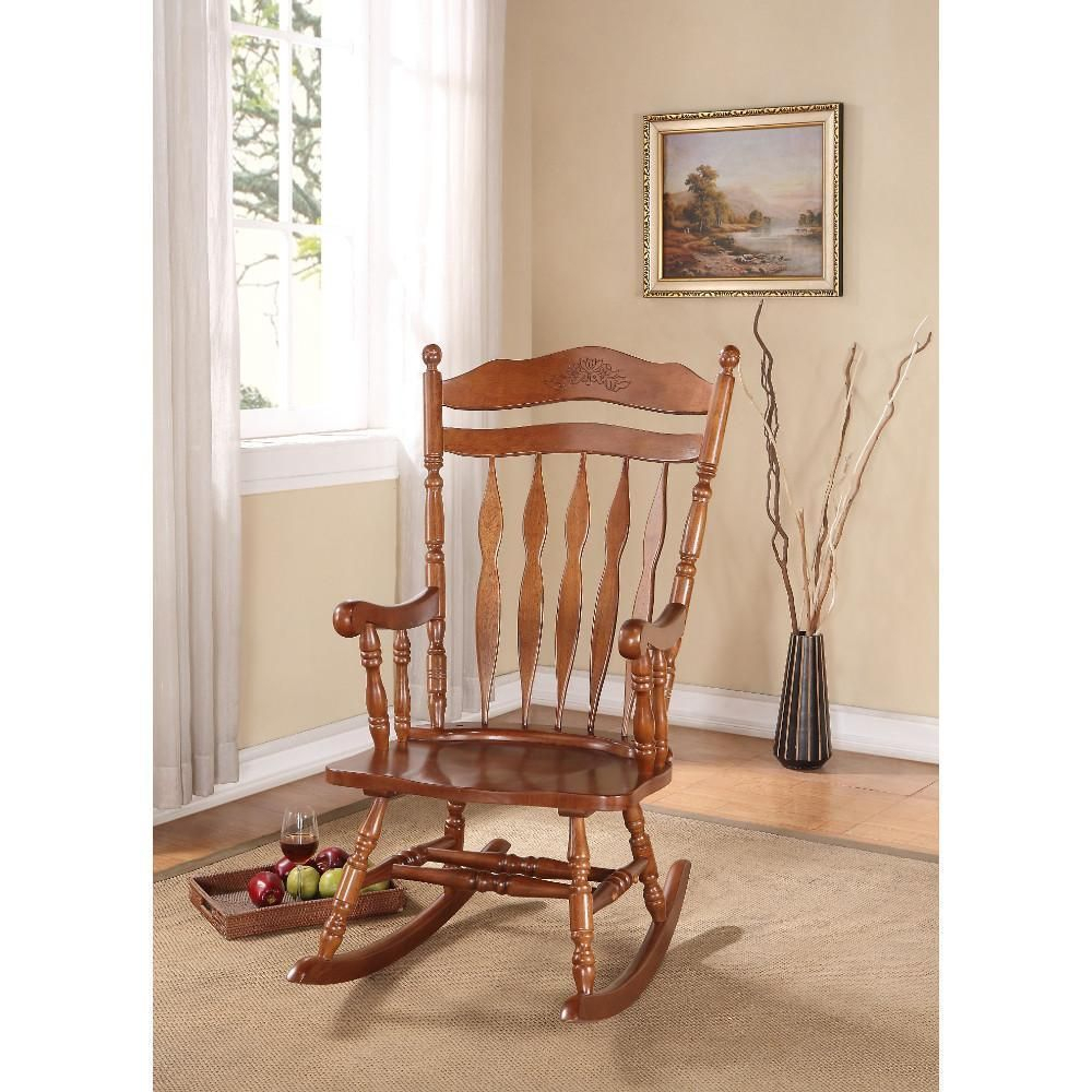 Inspiration about Wooden Rocking Chair, Dark Walnut Brown Acme | Products With Dark Walnut Brown Wooden Rocking Chairs (#1 of 20)