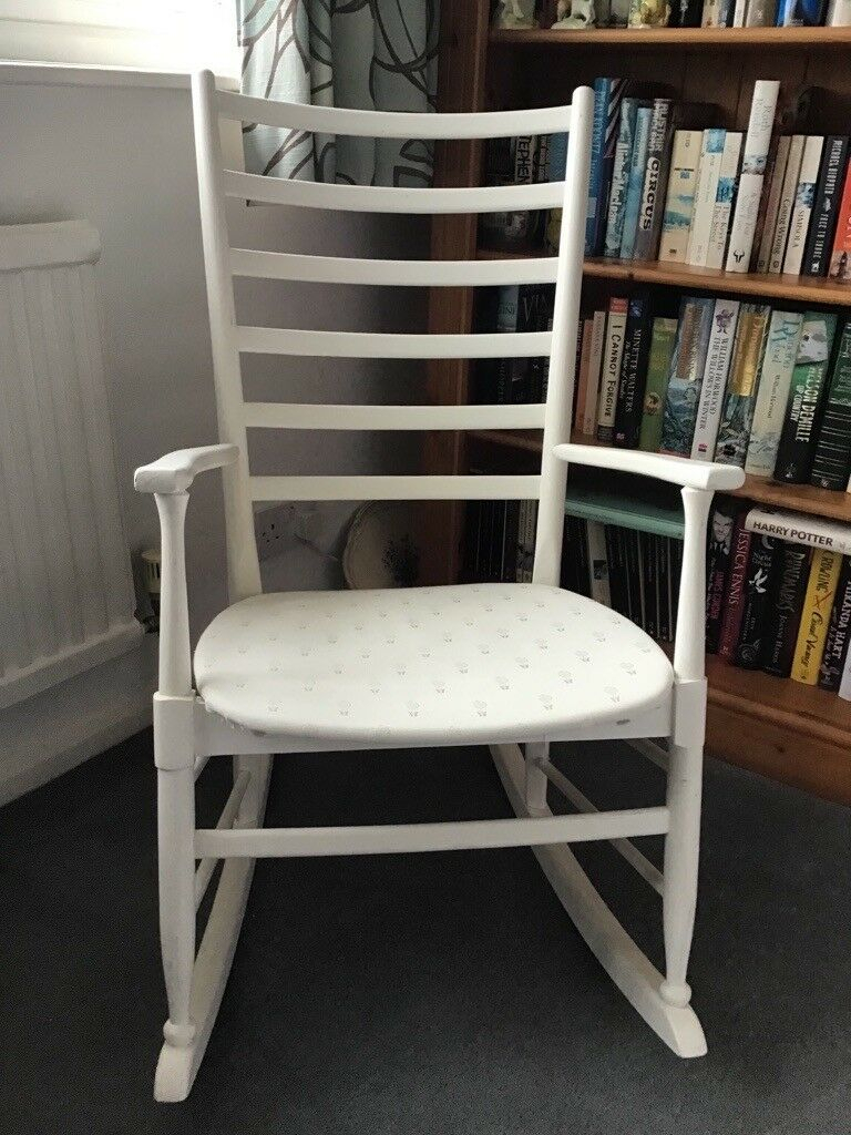 Inspiration about Wooden Rocking Chair | In Solihull, West Midlands | Gumtree Regarding Rocking Chairs In Cream Fabric And White (#15 of 20)