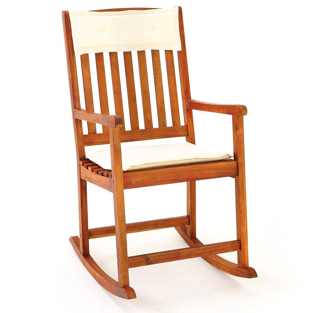 Inspiration about Wooden Rocking Chair Traditional Rocking Armchair Tropical Throughout Traditional Indoor Acacia Wood Rocking Chairs With Cushions (#4 of 20)
