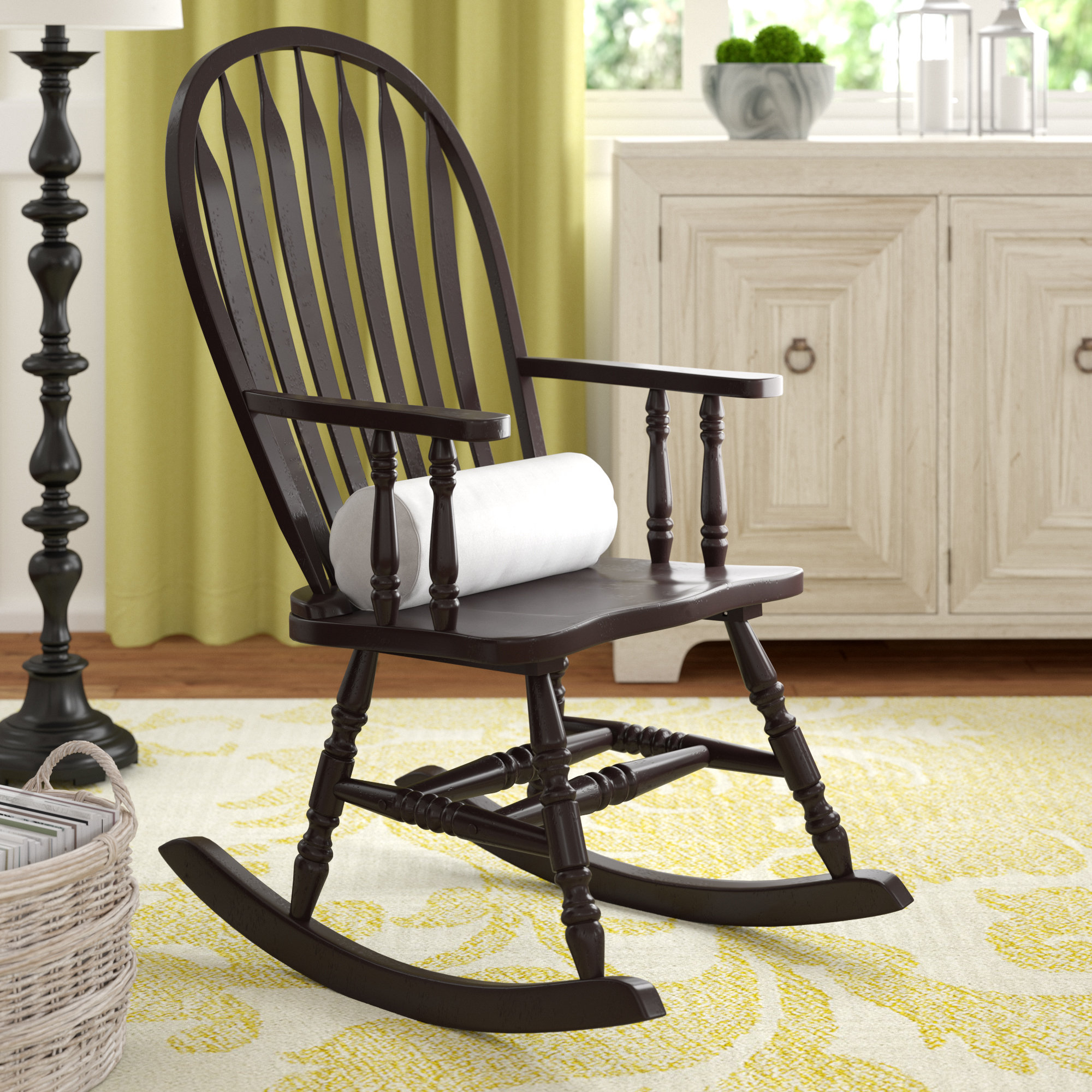 Yarbro Rocking Chair With Arms With Regard To Cappuccino Curved Rocking Chairs (#20 of 20)