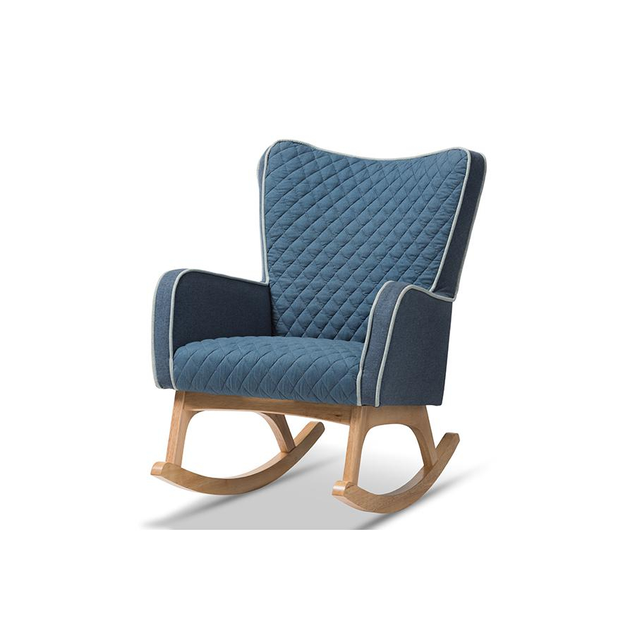 Inspiration about Zoelle Mid Century Modern Blue Fabric Upholstered Natural Finished Rocking  Chairbaxton Studio In Mid Century Modern Fabric Rocking Chairs (#7 of 20)