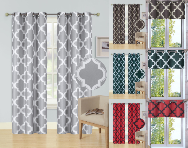 1/2Pc Set Window Curtain Lined Blackout Grommet Panel Valance Moroccan Print For Eclipse Trevi Blackout Grommet Window Curtain Panels (View 1 of 26)