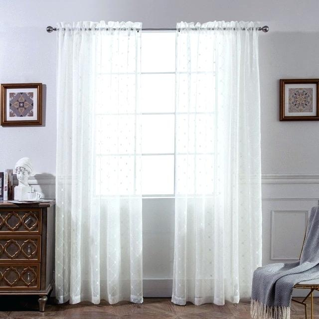 1 Pair Diamond Sheer Window Curtains Linen Look Texture Throughout Belgian Sheer Window Curtain Panel Pairs With Rod Pocket (View 1 of 46)