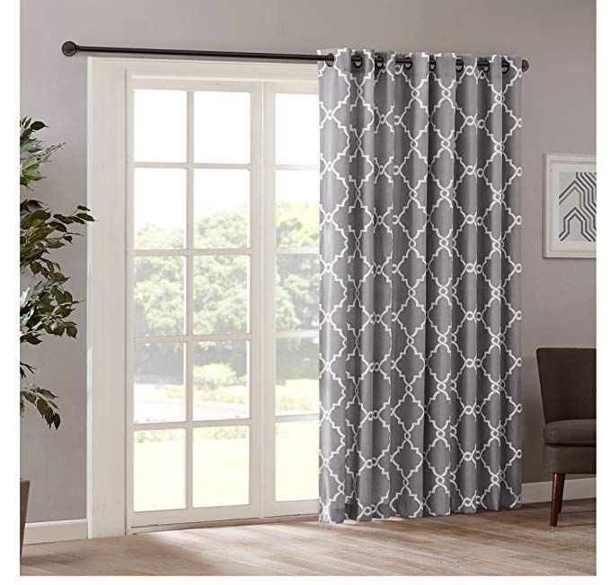 1 Piece 84 Inch Grey Color Geometric Sliding Door Curtain Throughout Essentials Almaden Fretwork Printed Grommet Top Curtain Panel Pairs (#1 of 38)