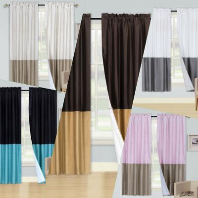 1 Set 2Tone Mix Match Colors Window Curtain Blackout Lined In Mix And Match Blackout Blackout Curtains Panel Sets (#1 of 50)