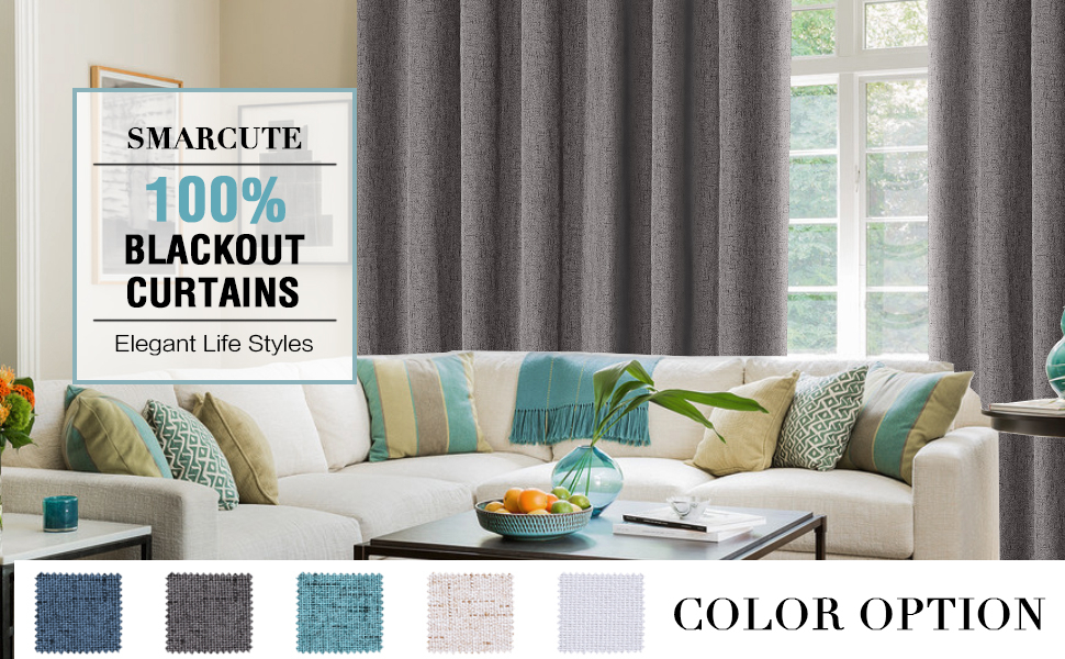 100% Blackout Curtains For Bedroom Linen Textured Double Wide Blockout  Curtains Throughout Faux Linen Extra Wide Blackout Curtains (View 3 of 50)