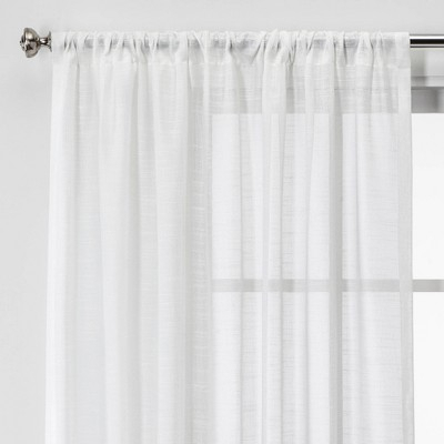 "108""x54"" Open Weave Sheer Window Curtain Panel White Regarding Elowen White Twist Tab Voile Sheer Curtain Panel Pairs (View 1 of 36)"