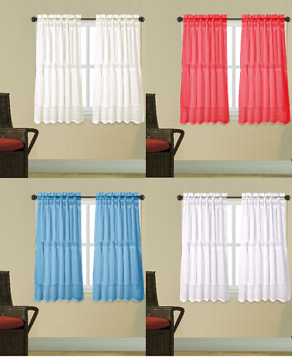 1Pc Kitchen Voile Sheer Crushed Ruffle Window Dressing With Sheer Voile Ruffled Tier Window Curtain Panels (View 47 of 50)