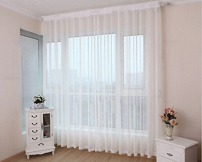 1Pc Sheer White Voile Scarf Curtain Panel Sets Curtains Extra Wide Long |  Ebay Inside Extra Wide White Voile Sheer Curtain Panels (View 2 of 50)