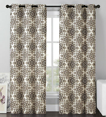 """2 Blackout Window Curtains Panel Pair Grommet Drape Thermal Brown  Medallion, 96"""" 751571495244 
