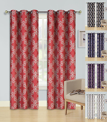 2 Cloud Printed Grommet Panels Lined Blackout Window Curtain Pertaining To Copper Grove Fulgence Faux Silk Grommet Top Panel Curtains (View 1 of 50)