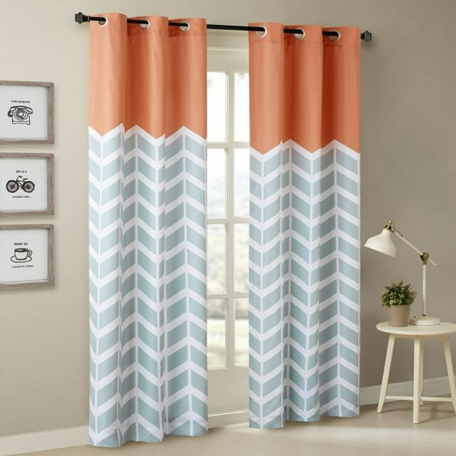 2 Orange Grey & White Chevron Print Curtain Panels Foam Back Lining   Grommet Top With Grey Printed Curtain Panels (View 1 of 48)