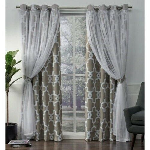 2 Pack Alegra Layered Geometric Blackout And Sheer Grommet Top Curtain  Panels, 5 Throughout Catarina Layered Curtain Panel Pairs With Grommet Top (View 1 of 30)
