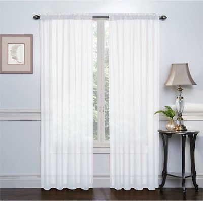 2 Pack: High Woven Elegant White Sheer Curtains – 54 In. X 84 In (View 1 of 21)