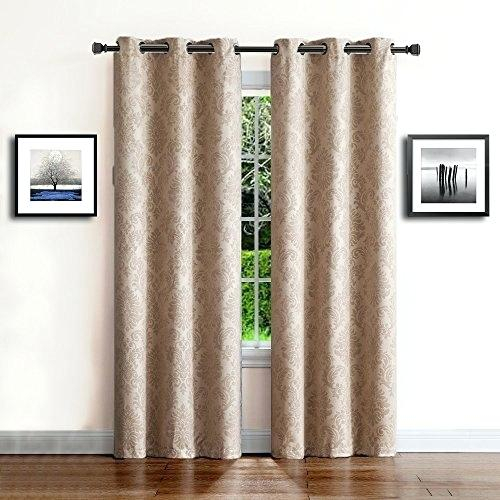 2 Panel Curtains Regarding Superior Leaves Insulated Thermal Blackout Grommet Curtain Panel Pairs (#1 of 50)