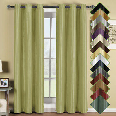 2 Panel Solid Soho Thermal Insulated Blackout Grommet Window Curtain /  Drape | Ebay Inside Superior Solid Insulated Thermal Blackout Grommet Curtain Panel Pairs (#5 of 45)