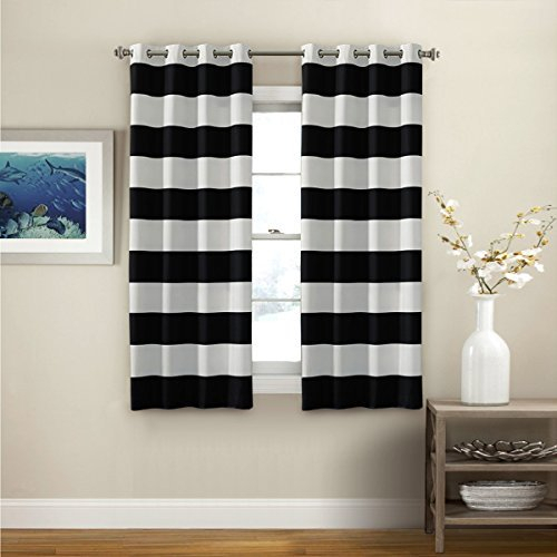 2 Panel White Blackout Curtains | Flisol Home Inside Raw Silk Thermal Insulated Grommet Top Curtain Panel Pairs (#2 of 46)