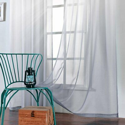 2 Panels Faux Linen Sheer Curtains Voile Grommet/rod Pocket Throughout Ombre Faux Linen Semi Sheer Curtains (#2 of 50)