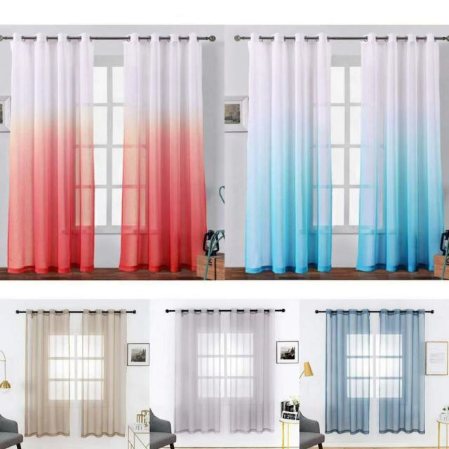 2 Panels Faux Linen Sheer Window Curtains Sheer Curtains For Bedroom Living Room Regarding Ombre Faux Linen Semi Sheer Curtains (View 47 of 50)