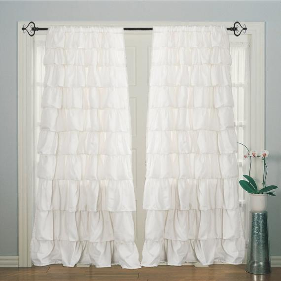 2 Panels Ruffle Plain Solid Rod Pocket, White Ruffle Cotton, Door Curtain Panels, Window Curtain Panels, Cotton Curtain Pertaining To Solid Cotton Curtain Panels (View 6 of 47)