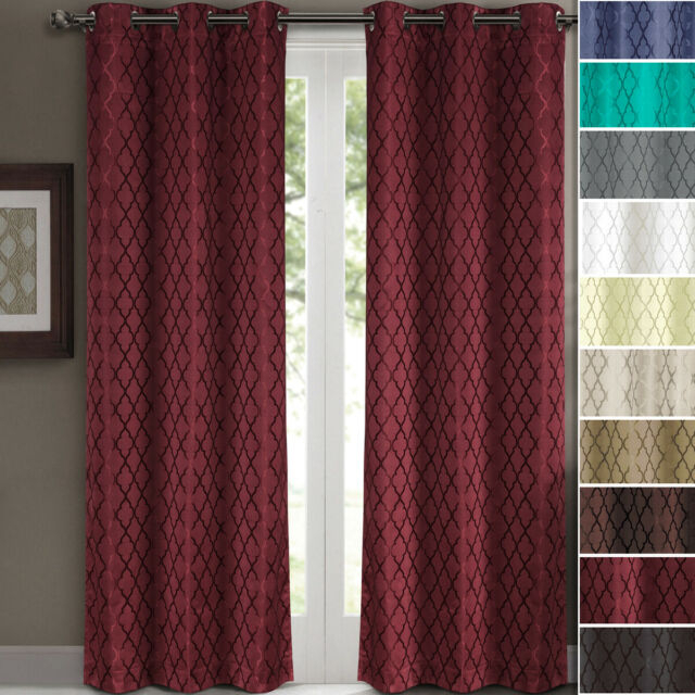 2 Panels Willow Thermal Blackout Grommet Window Geometric Jacquard Curtain  Set Intended For Catarina Layered Curtain Panel Pairs With Grommet Top (View 2 of 30)