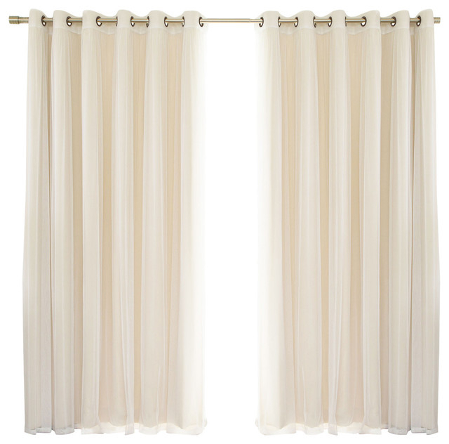 2 Piece Mix And Match Wide Tulle Sheer Lace Blackout Curtain Set, Beige With Regard To Mix And Match Blackout Tulle Lace Sheer Curtain Panel Sets (#2 of 50)